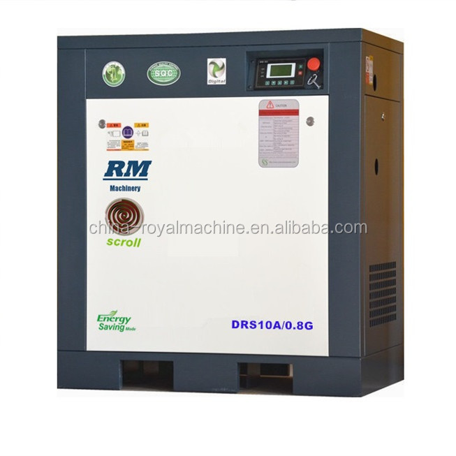 oil injection scroll air compressor DAS10A/1.5G with 275L tank and dryer scroll air compressor 15bar for laser cutting