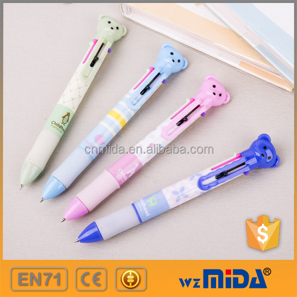 promotional 6 color retractable ball point pen 6 in 1 ball pen stock available MD-D5003