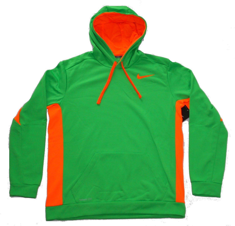 big sale a9f64 4532e Get Quotations · Nike Mens Therma Fit KO 3.0 Pullover Hoodie Sweatshirt  Green Orange XS