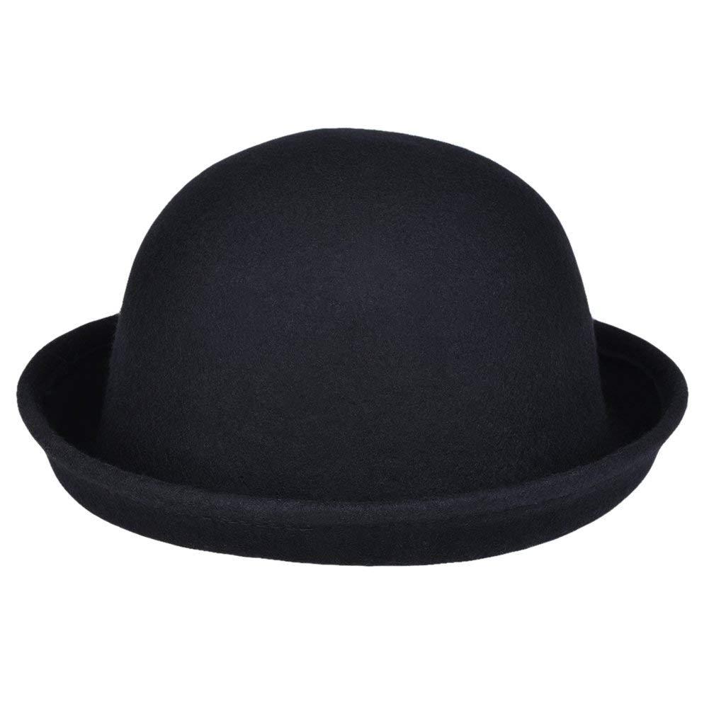 b797da728dc Get Quotations · VBIGER Bowler Hat Fedora Hats Winter Roll-up Brim Derby  Hats For Women