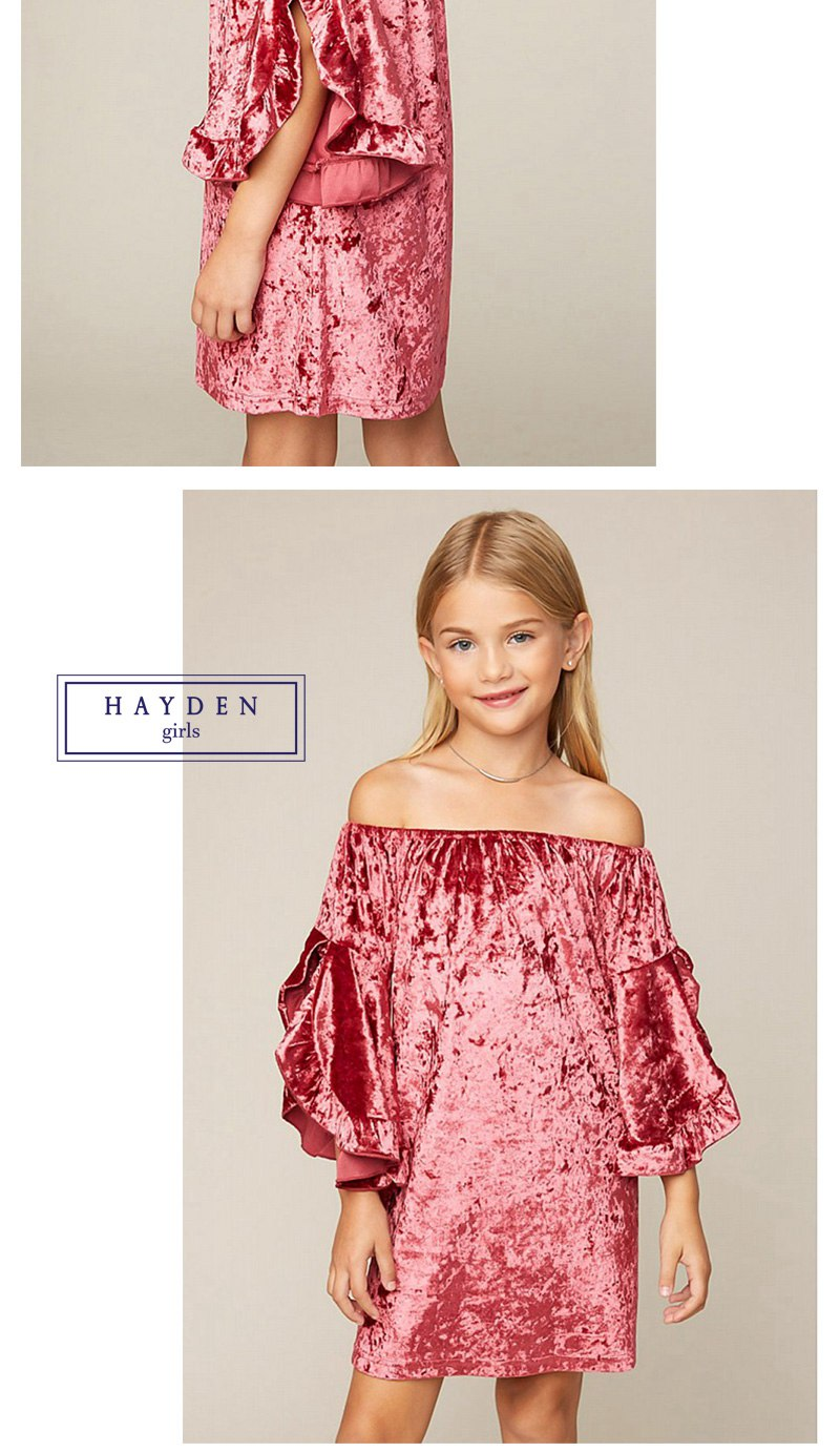 7c7bcaed4d19 HAYDEN Girls Velvet Dress 7 to 14 Years Teenage Girls Off Shoulder ...