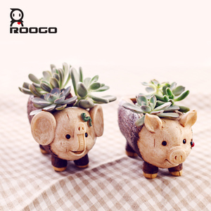 ROOGO Vintage Rustic Abstract Imitation Wood Resin Elephant Animal Shaped Indoor Desk Planter Succulent Cactus Pots Dorm Decor