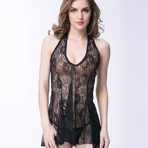 Fashion Woman Mature Lingerie Babydoll Transparent Lace Babydoll Backless Floral Embroidered Babydoll
