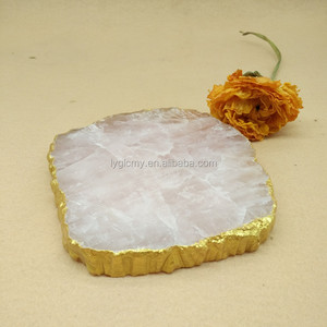 Gold Rose Crystal slices wholesale coasters in a pack oringinal slices for drink cup