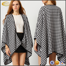 Ecoach hight quality women's fashion 2016 women cost modle Black White Asymmetric Coat full bell sleeves women fashion coat