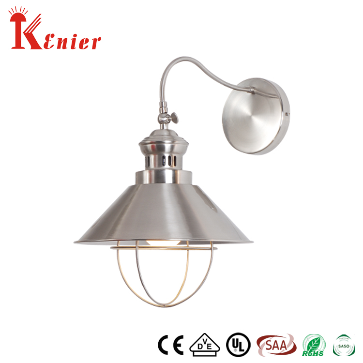 Hot Selling Industrial Style Home Restaurant Silver Wall Bracket Light Sconce Fixtures E27 Metal Shade Vintage Wall Lamp