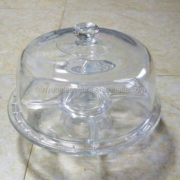 Clear Glass Cake Plate Tray Cake Stand With Glass Cover Lid Dome ...