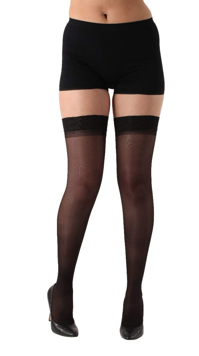 5f0e7b1bae Get Quotations · Made in the USA - Sheer Compression Stockings - Thigh High  with 3 inch comfortable lace