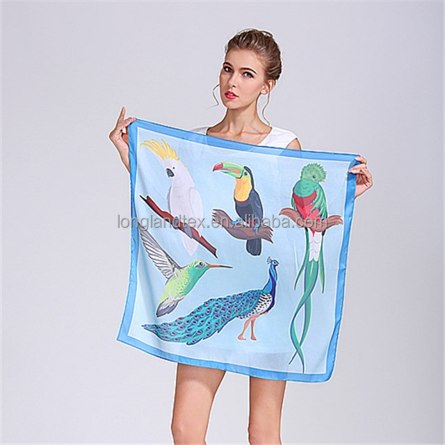 Custom design printed ladies polyester silk handkerchief