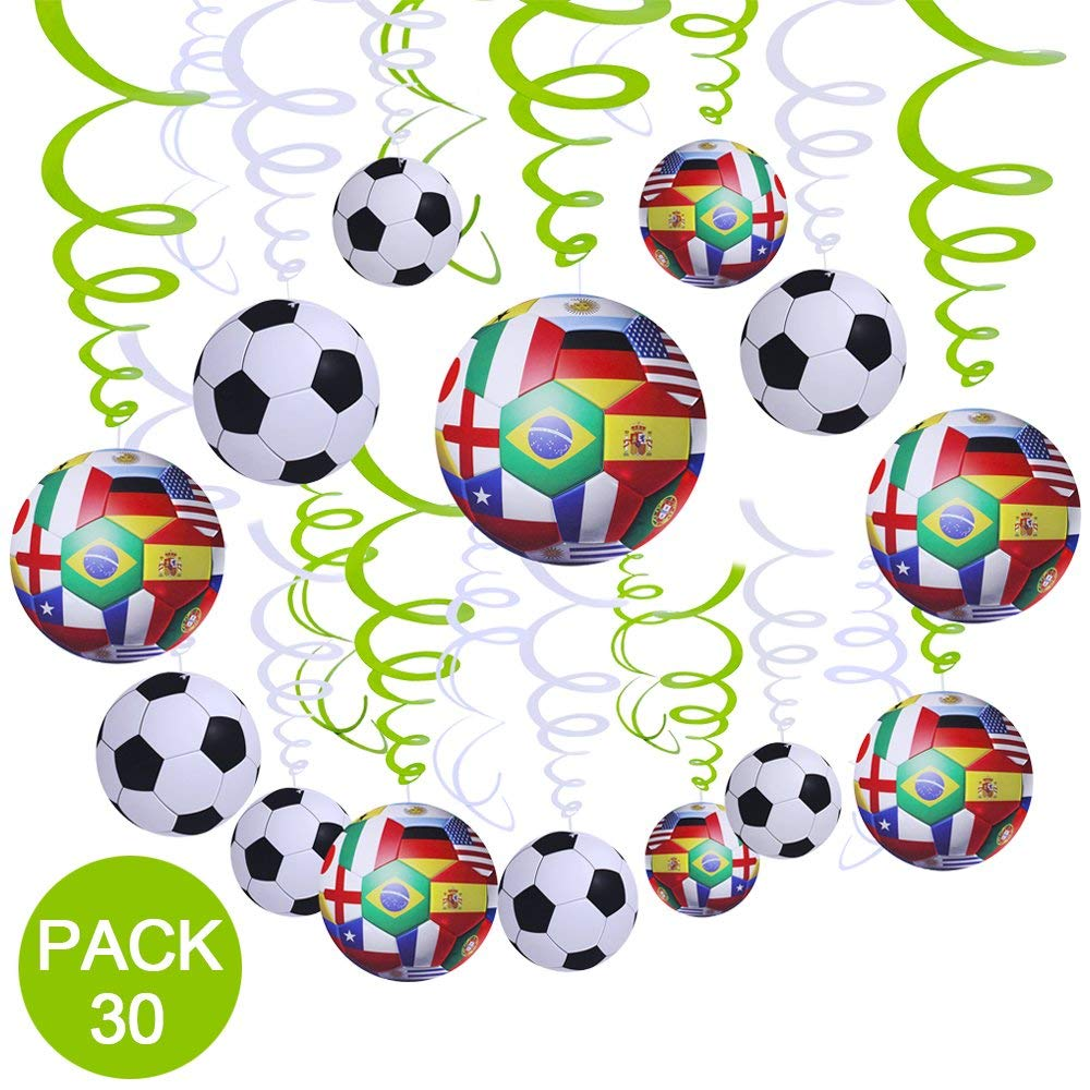 Get Quotations Supla 30 Pcs Soccer Hanging Swirl Decorations For Ceiling 2018 Game Football Theme Sports Themed