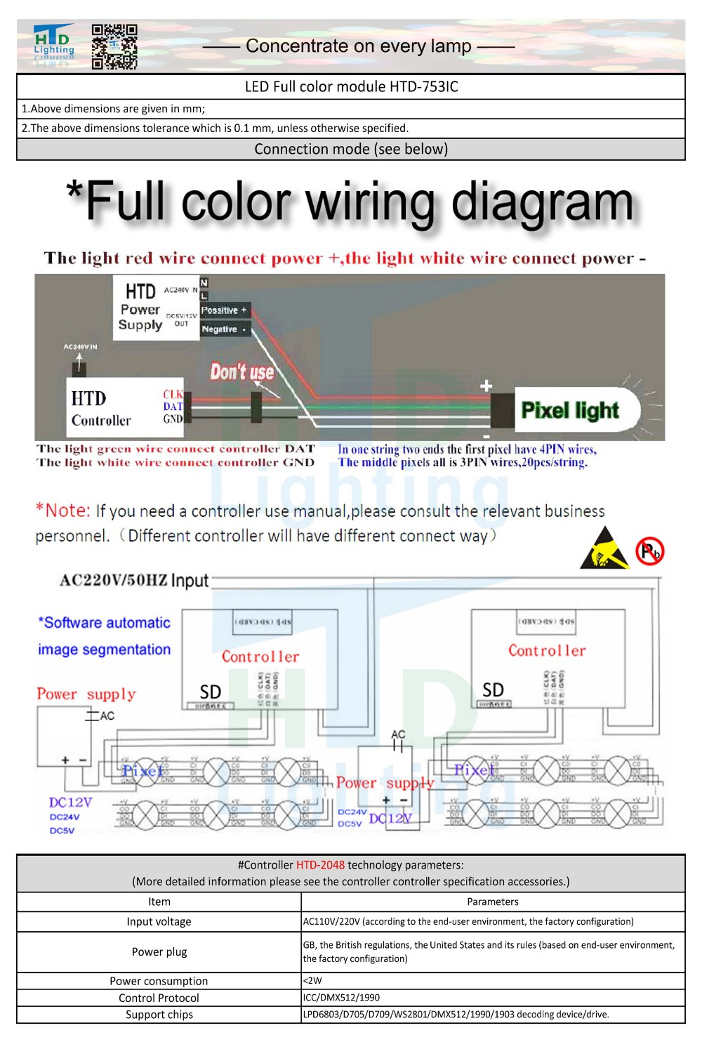 5050 Full Color 3leds Pixel Ws2811 Led Modules Rgb Waterproof Ip65 Icc Wiring Diagram Htd 753ic Module Spec 2016 2