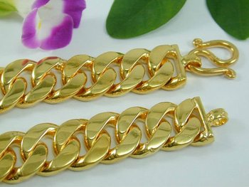 Thai Baht Style 22k Gold Plated Curb Link Bracelet Costume 18k 24k Product On Alibaba