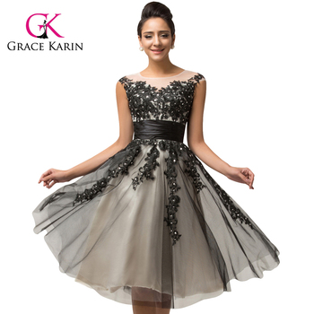 Grace Karin Cap Sleeve Gray Elegant Short Prom Dress Cl007581 - Buy ...