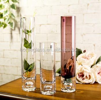 Newbottle Bottom Bubble Straight Transparent Glass Vase Hydroponic