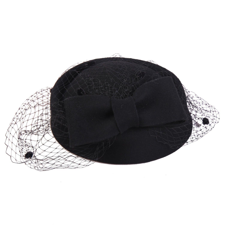 Sedancasesa Pillbox Hat Wedding Hat with Veil Vintage Bow Fascinator Hats  for Women-Black f5142cef93e