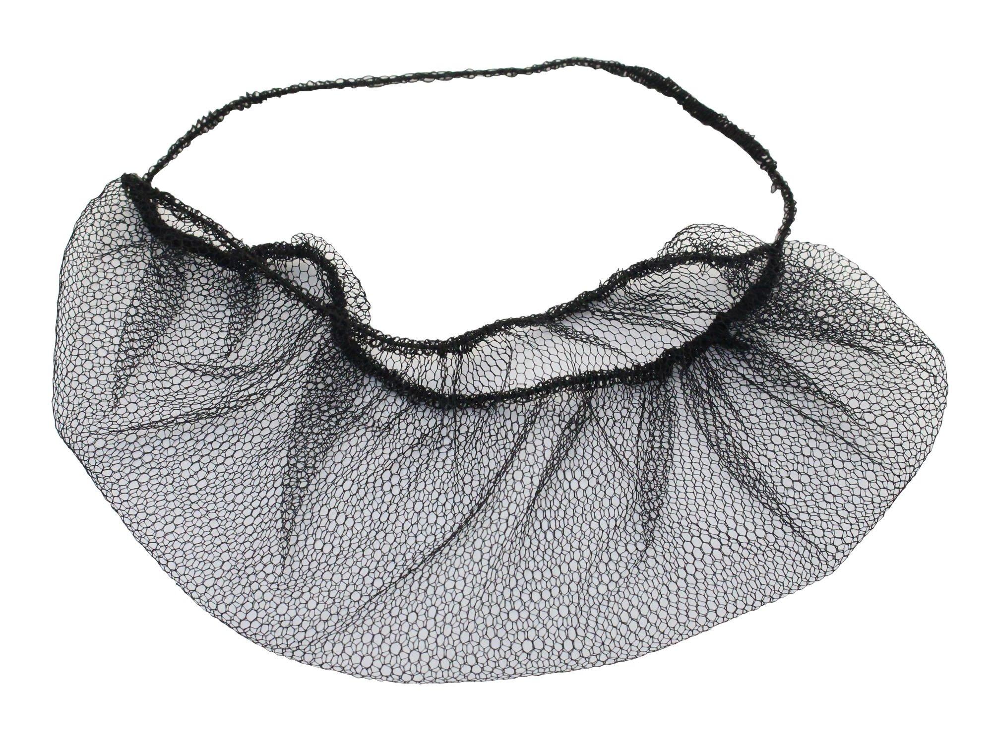 "21/"" Hairnet 100 Pcs Flame Resistant Nylon with Honeycomb Pattern Black"