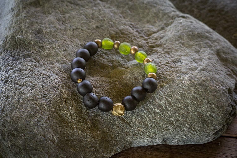 jewerly lava bracelet african turquoise black silver reiki bracelet tribal bracelet Pyrite bracelet green Protection and Grounding Mens bracelet