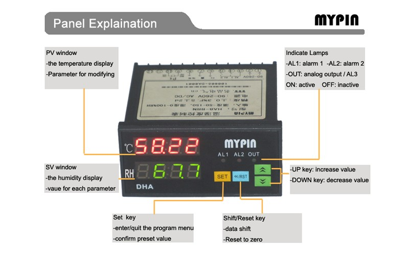 MYPIN brand 24V DC power digital temperature humidity meter(model:HA8E-RRHT)