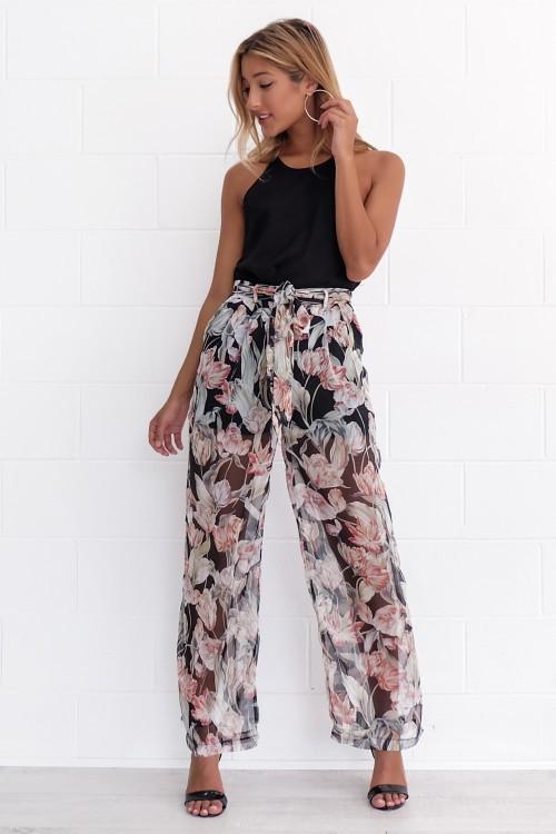 084c339bb2 JYSS ummer nova impressão chiffon solta calça casual calças de praia  feminino ...