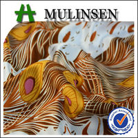 Mulinsen Textile Silk Soft Touch 100% Polyester Peacock Foil Printed Satin Gold Dress Fabric
