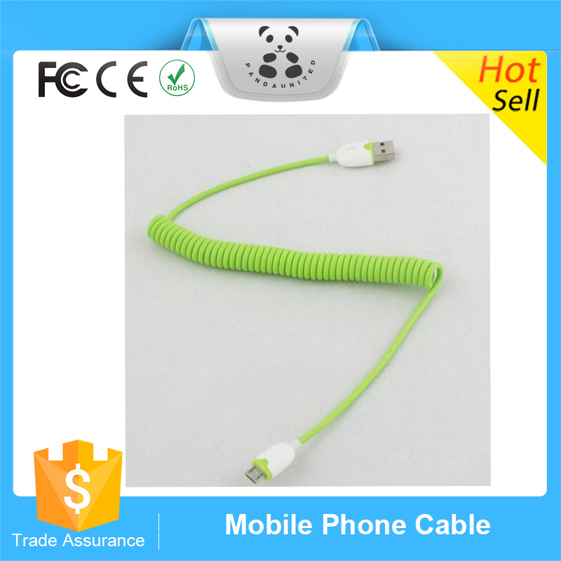Popular Flexible Spring Coiled Cord USB Sync Charging Cable For Samsung Galaxy S2 i9100 S3 i9300