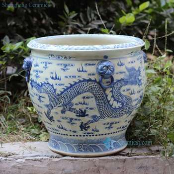 Charmant RZFH03 C Hand Paint Blue And White Flying Dragon Pattern Wholesale Ceramic  Large Garden Pots