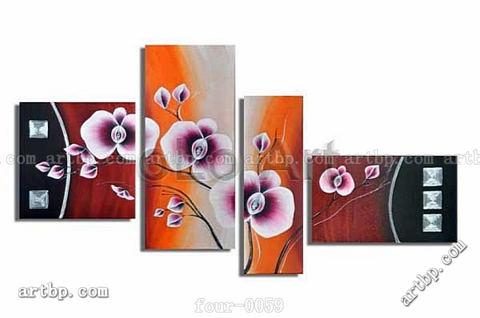 Oil Painting Hand Painted Free Shipping Huge Flower Wall Art Handmade Abstract Mordern Paintings  Canvas Wholesale 4Pcs Set