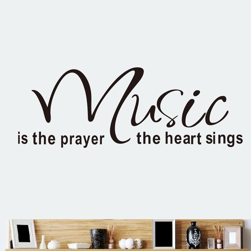 Music Is The Prayer The Heart Sings Wall Stickers Simple Living Room Home Decor PVC Removable Wall Mural