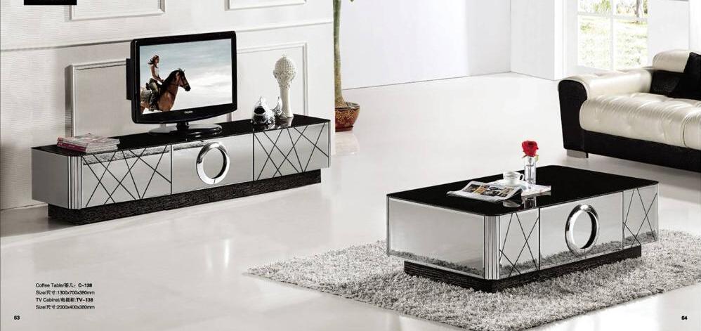 Unique Modern Black And Silver Mirrored Tv Stand - Buy Unique Mirrored Tv  VH52