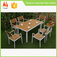 Outdoor patio use 6 seater plastic table and chair tops