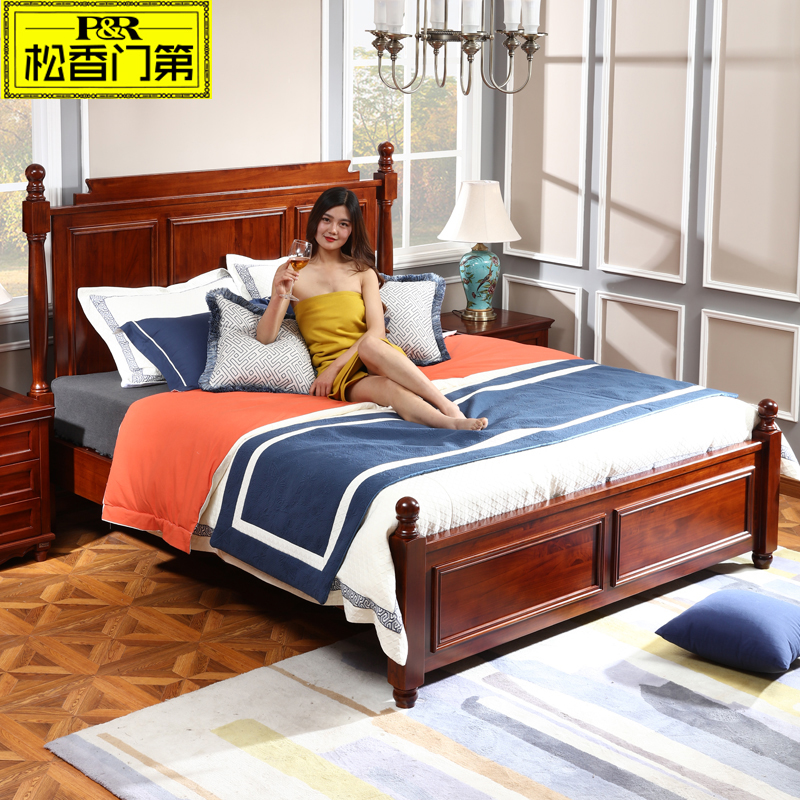 solid wood furniture durable coffee color bed bedroom suppliers