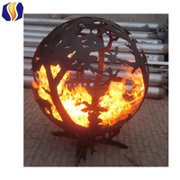Outdoor large steel wood burning handcrafted firepit with high temrature painted