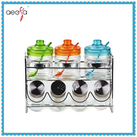 Spice Jar Condiment Set Colored Glass Cruet With Scoop
