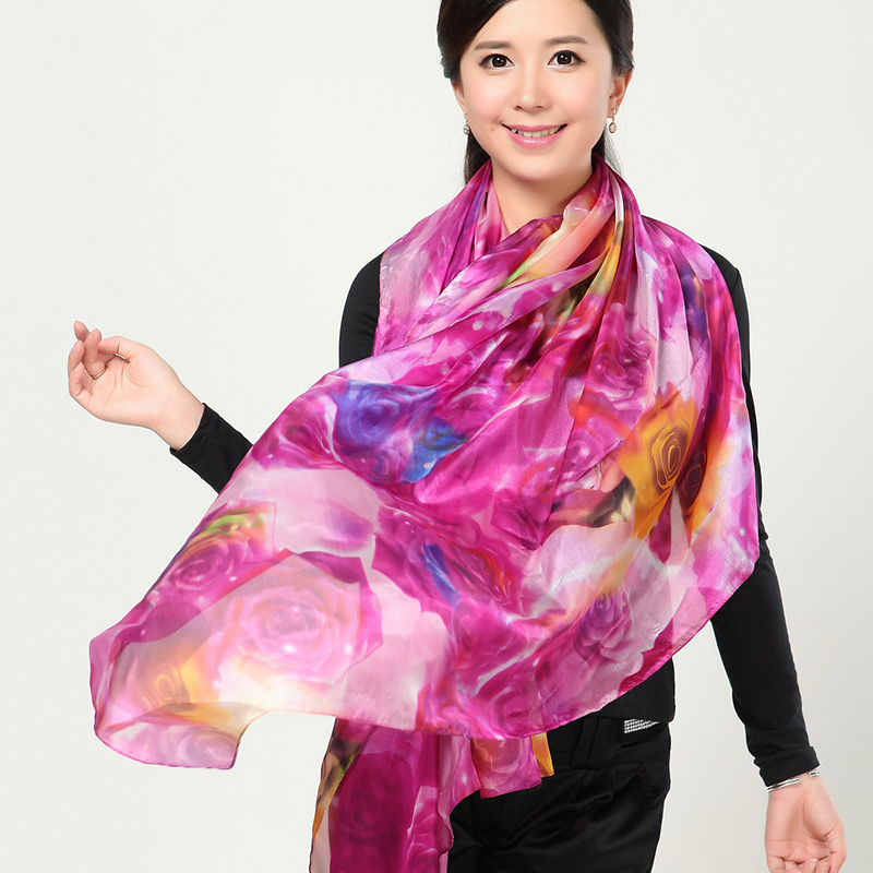 Pure silk scarf; SILK MADAM:shawl,cape,pashmina,stole,hijabs,tippet,manta; style: print,floral; size:180cm*110cm; 100% silk.