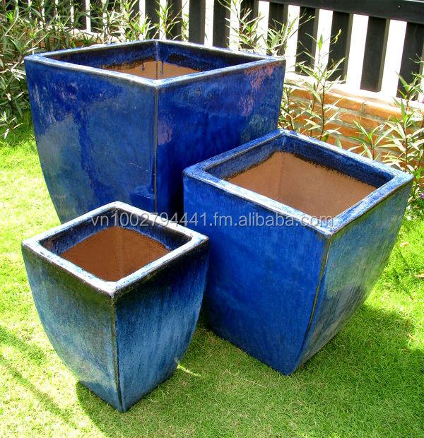 Green Glazed Planters Large Blue