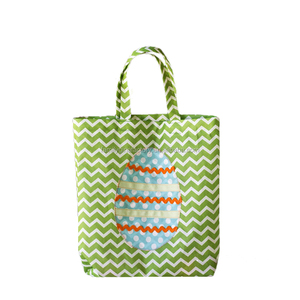 Monogram Lovely Canvas Stripe Easter Egg Rabbit Tote Bag