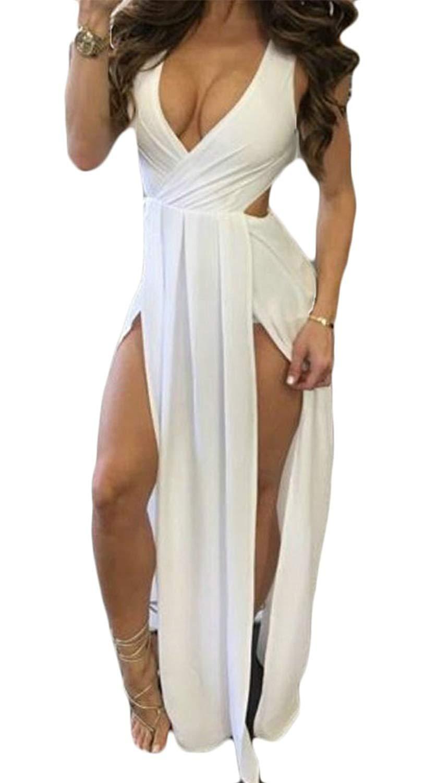 Get Quotations · Etecredpow Women Backless Flowy Sexy Criss High Split Low  Cut Party Long Dress c671bcd65