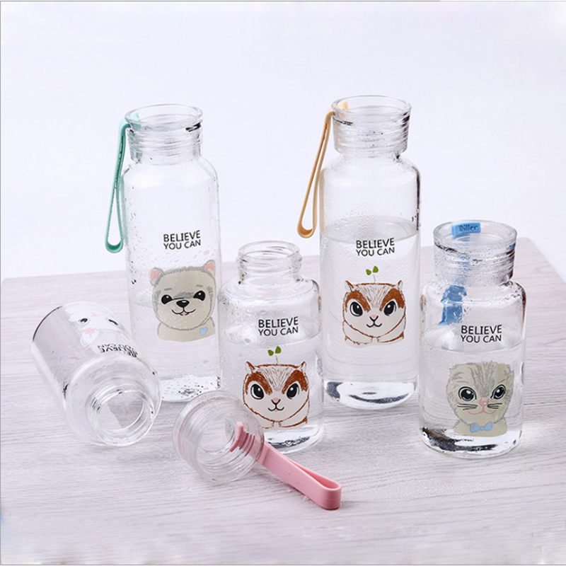 UCHOME Small Cute 300ml Glass Water Bottle Portable Cute Animal Glass Bottle