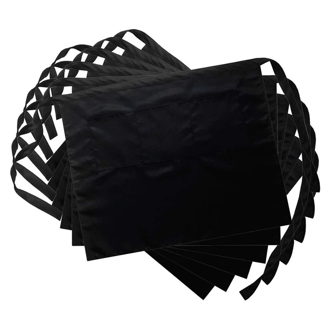 LOYHUANG 3 Pockets Waist Apron (Set of 6, Black) - Restaurant Half Aprons, Bartender Apron, Half Aprons for Men, Women, Chef, Baker, Servers, Waitress, Waiter, Craftsmen (Black)