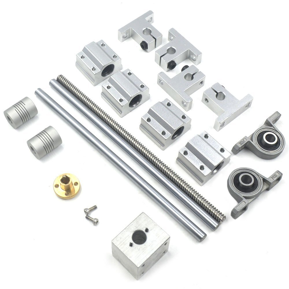 Lead Screw Bearing Mounts, Mergorun 200mm Horizontal Optical Axis & 8mm Lead Screw Dual Rail Shaft Support Pillow Block Bearings & Flexible Shaft Coupling With Set of 17