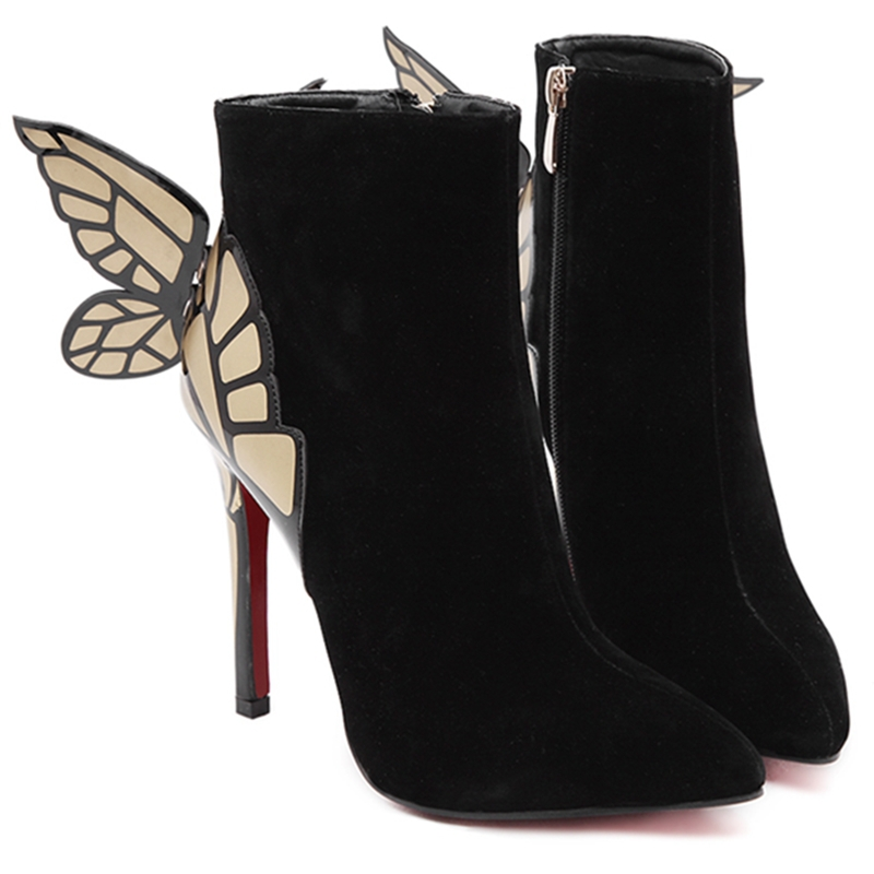509d254a926 Get Quotations · 2015 Winter Women Boots High Heels Pointed Toe Wings ankle  Boots Fashion Soft Flock Autumn Shoes