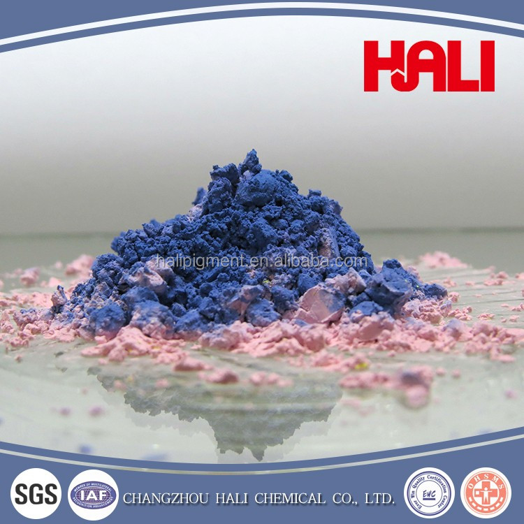 thermochromic pigment, hot sensitive powder, temperature active, item:HLR-8105, blue to orange.