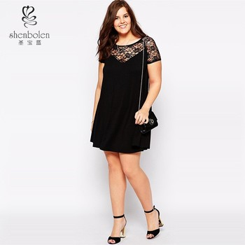 Plus Size Sexy Mini Patterns For Lace Insert Skater Dress For Fat