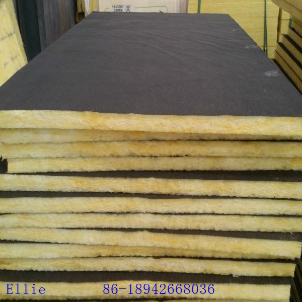 Acoustic Glass Wool Panel With Black Tissue Black Glass