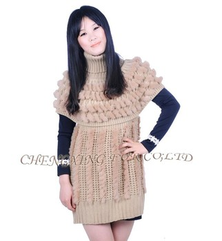 cea1d720001 Cx-g-b-189a Pas Cher Fourrure De Lapin Robe Pull Gilet Femme Pour L ...