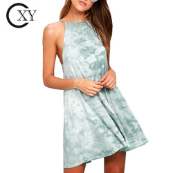 Custom Women Tie Dye Dress Stretch Knit Falls Swing Mini Dress