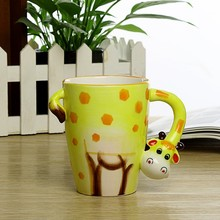 Creative gift Ceramic coffee milk tea mug 3D animal shape Hand painted animals Giraffe Cow Monkey Dog