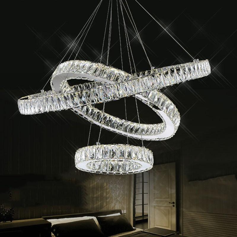 Luxus Doppel Ringe Kristall Lampe Für Esszimmer Oval Moderne Wohnzimmer  Kristall Kronleuchter Beleuchtung LED Lüster