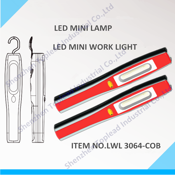 Dry Battery Power Source and 3 Lighting Period (h) LED Work Light with Strong Magnet and Hook LED Portable Work Light