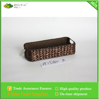 Rush woven storage basket with sewing liner
